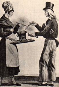 Vendedora de ambulante de salchichas