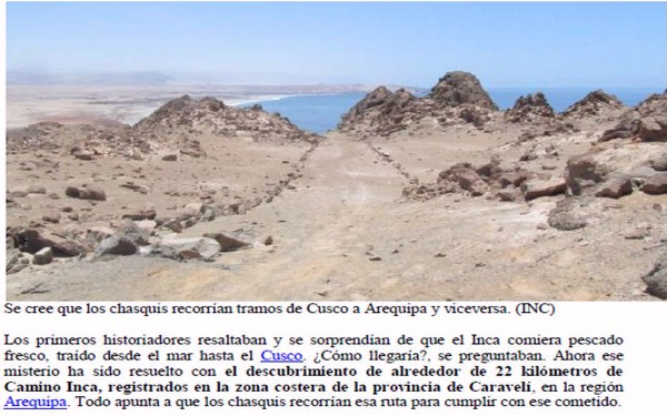Camino incaico en Provincia de Caravelí, Arequipa