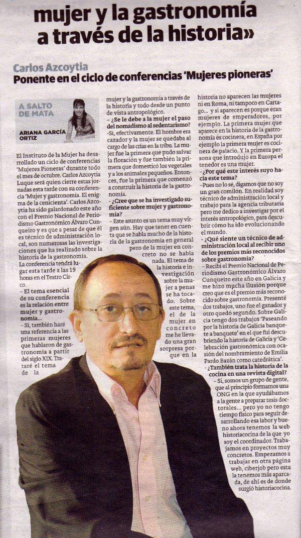 Nota de prensa aparecida en un diario de Albacete