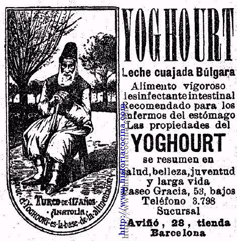 Anuncio del primer yogur vendido en España