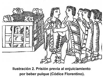 Prisión previa al enjuiciamiento por beber pulque. Códice Florentino [1]