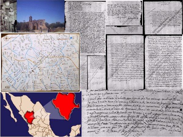 Dolores del Río. Nombre de Dios, mapa de la Nueva Vizcaya en 1668,ubicación de Durango, documentos coloniales de Francisco de Ibarra [4]