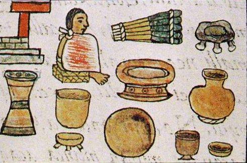 """Fray Bernardino de Sahagún en su Códice Florentino nos dice que: """"Venden… vasos de barro… y lebrillos, y ollas y tinajas, y tinajas para hacer octli, y todas las otras maneras de loza"""". (6)"""