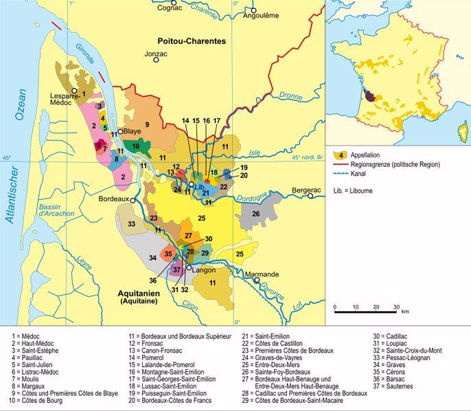 Zona vitivinicultora de Burdeos, Imagen obtenida de Wikipedia