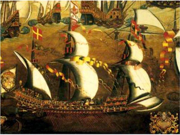 Grabado de barcos en maniobra. / Imágenes del libro La Gran Armada [2]