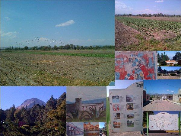 Tlaxcala, varias vistas: campos de cultivo de hortalizas, mural de Cacaxtla, Parque Nacional de la Malintzin, ex haciendas henequeneras