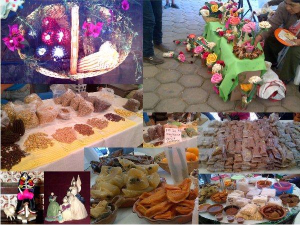 Maíz de colores, dulces y figuras hechas con hojas de mazorca