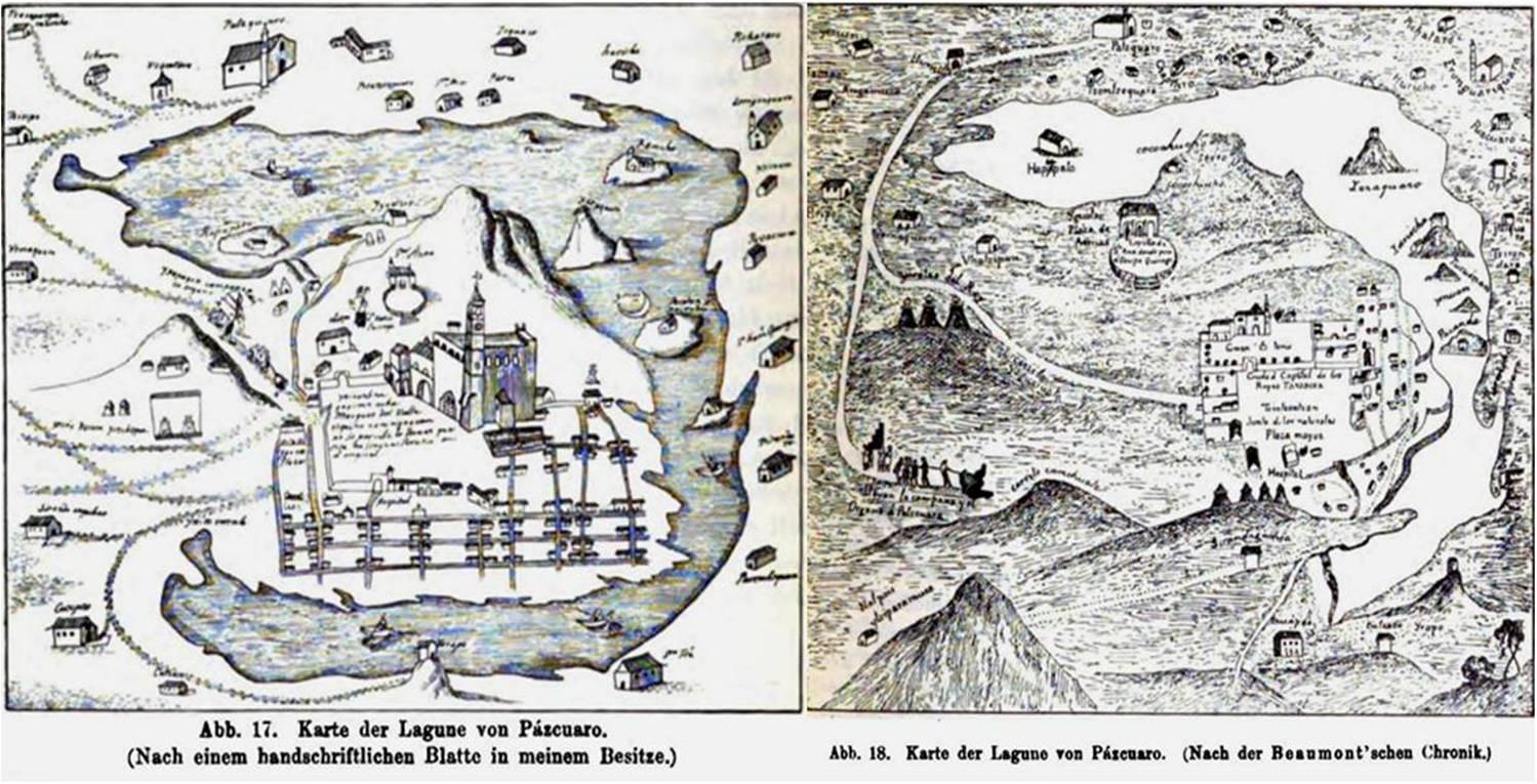 El Lago de Pátzcuaro con otra vista del traslado del órgano y l a campana en el texto de Eduard Seler2