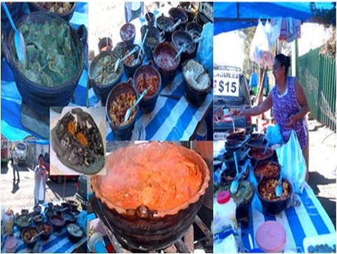 Chilaquiles en salsa verde, guiso de papa con longaniza, chicharrón en salsa picante roja, arroz con huevo y otras delicias que disfruta la comensal de tan amable señora