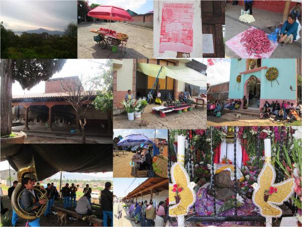 Lago de Pátzcuaro y vistas de Santa Fe de la Laguna el 27 de julio, día de la celebración al Cristo de la Roca (collage con fotos de la autora de este escrito)