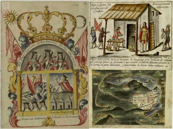 Escudo de armas de Tzintzuntzan, comida ofrecida a españoles conquistadores e imagen colonial del Lago de Pátzcuaro [1]