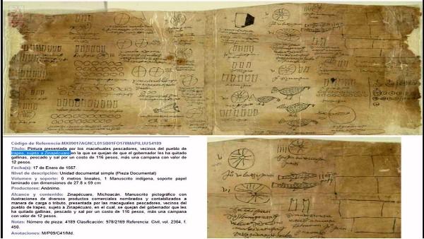 Pintura presentada por los indígenas macehuales pescadores vecinos del pueblo de Irapeo, sujeto a Zinapécuaro en la que se quejan de que el gobernador les ha quitado gallinas, pescado y sal por un costo de 116 pesos, más una campana con valor de 12 pesos. Manuscrito pictográfico del 17 de enero de 1567. (4)