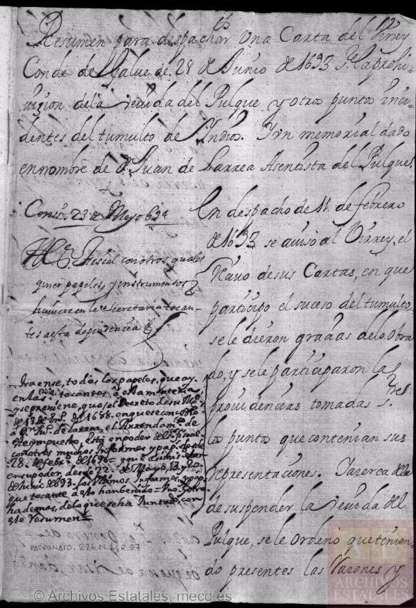 Prohibición de la venida de pulque hecha por el virrey conde de Galve el 28 de junio de 1693 [16]