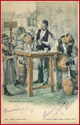 """UN PUESTO DE LECHE Ventura Alvárez Sala Año VII – Madrid 19.9.1897, Nº 333, pág. 9. """"Los peligros de Madrid. Un puesto de leche"""""""