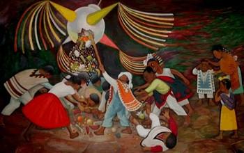 Mural de Diego Rivera mostrando el quiebre de la piñata [1]