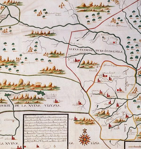 Plano corográfico de los reinos de Nueva Extremadura o Coahuila, y del Nuevo Reino de León. 1729